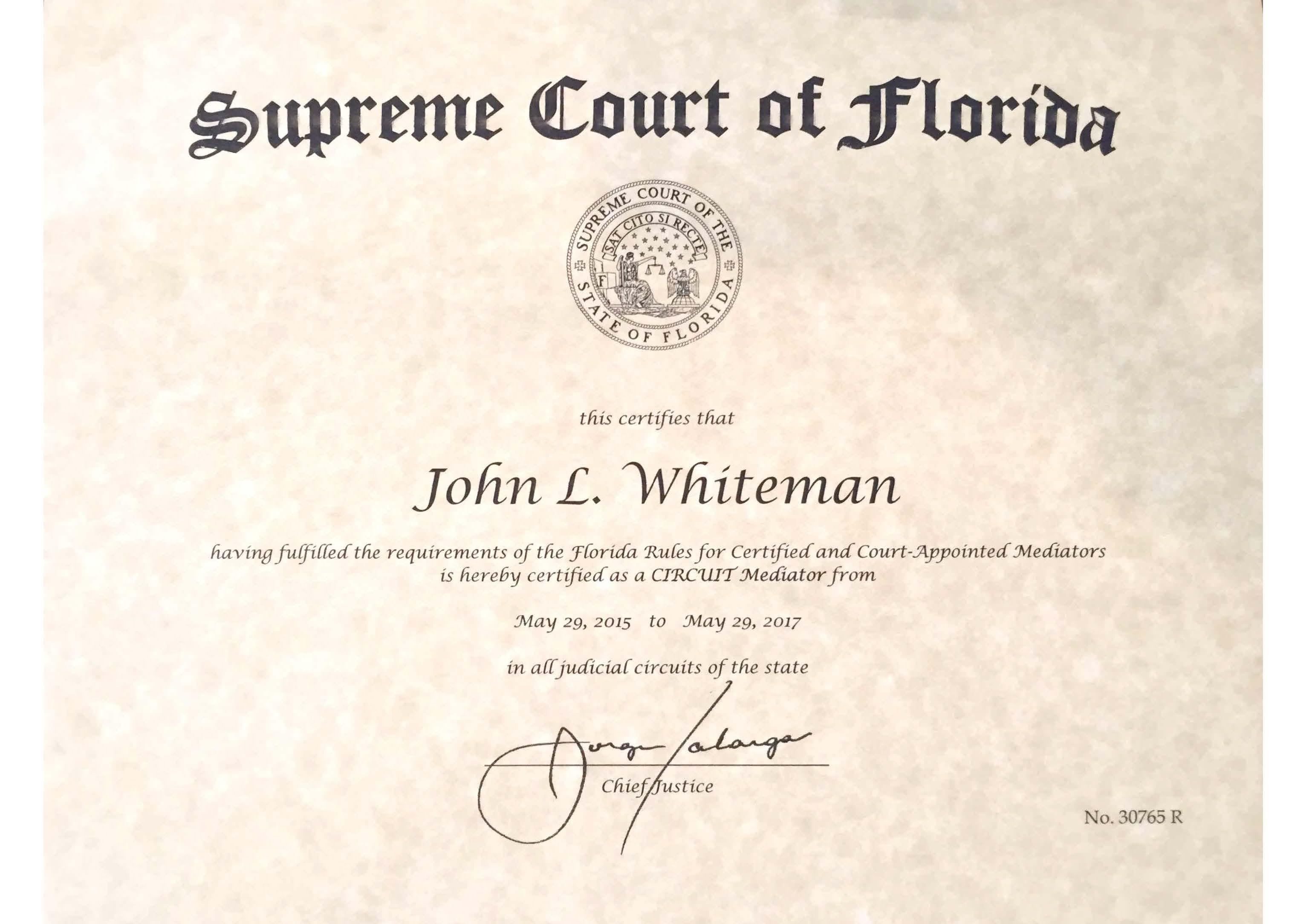 Whiteman Certificaqte